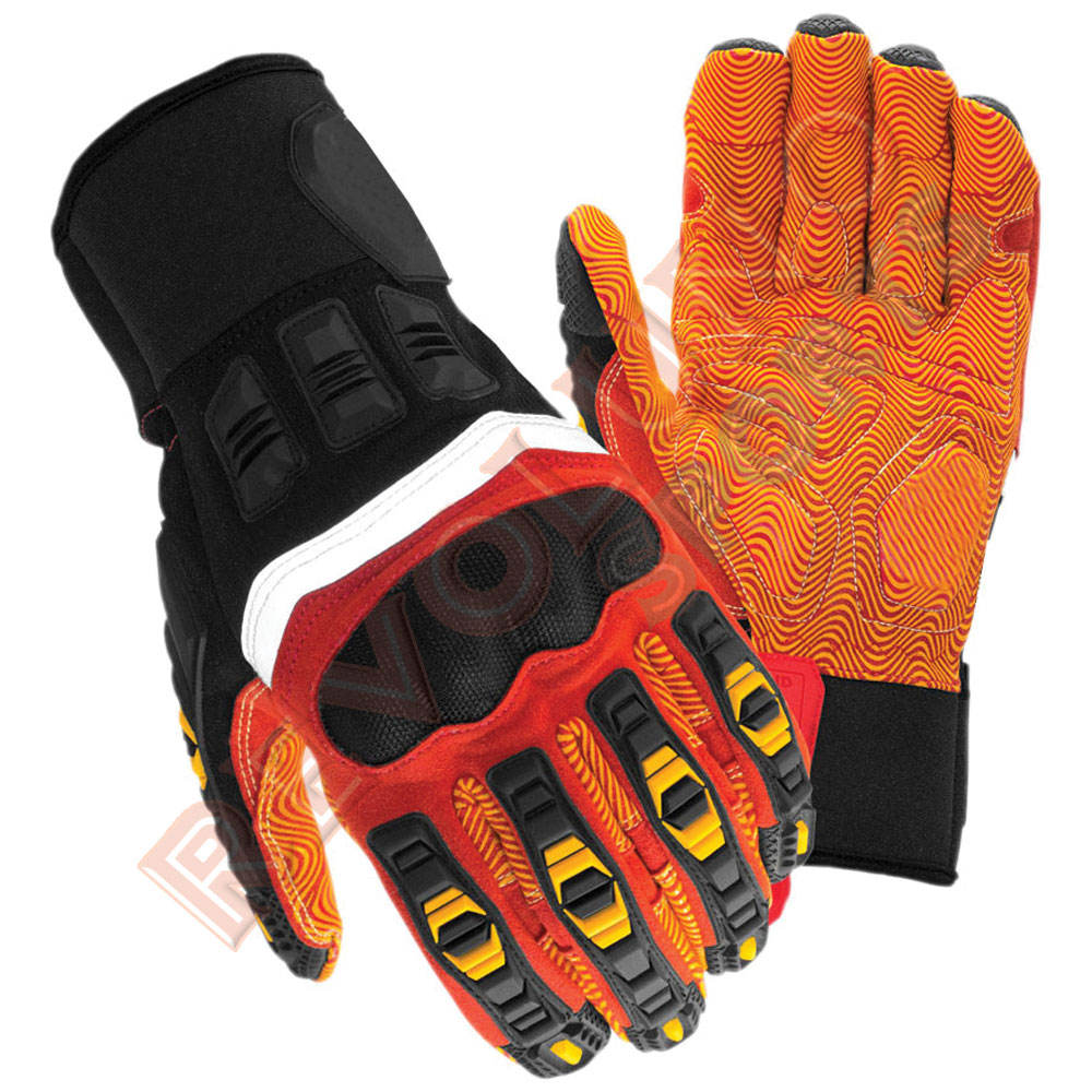 Silicon Printed Palm Safety Premium Quality Anti Vibration Mechanical Working Gloves