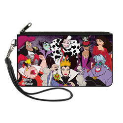 Buckle Down Canvas Zipper Wallet Large Villains Group Pose Purple Fade USA Manufactured