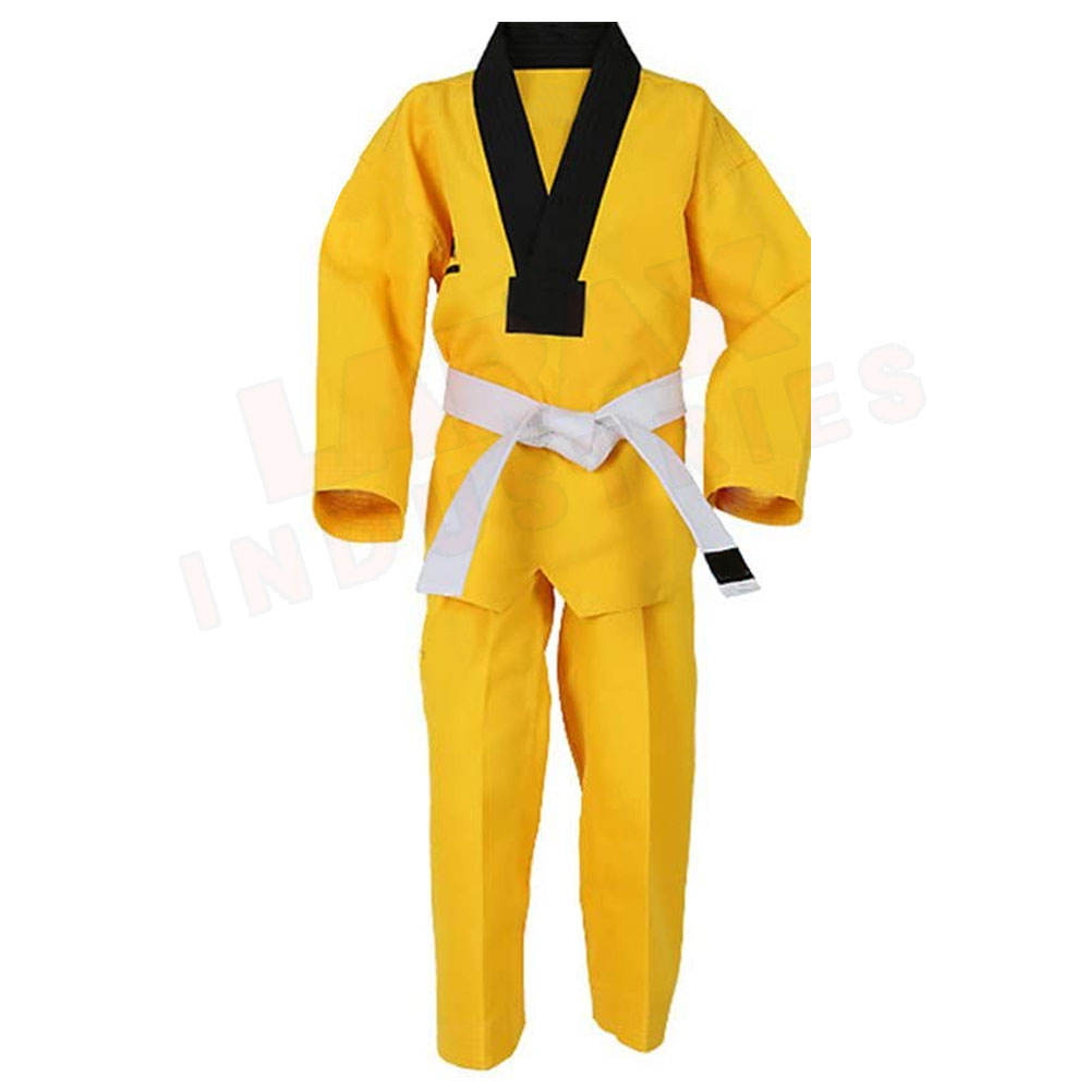 New Arrival Custom Made Taekwondo Uniform In Different Size Martial Arts Wears 100% Cotton Taekwondo Uniforms In Yellow Color