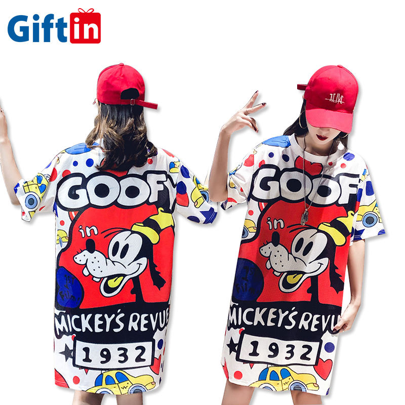 New Style Summer Custom Fashion 100% Polyester Sublimation Printing Long T Shirt Dress For Women
