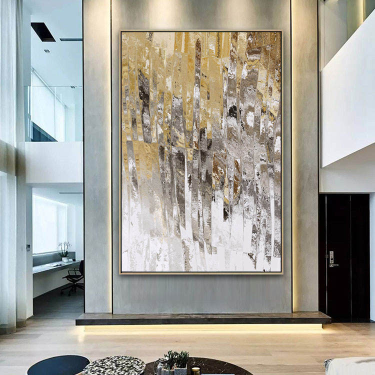 Handpainted Extra Large Wall Art Decor Modern Art Acrylic Gold Foil Abstract Oil Painting On Canvas