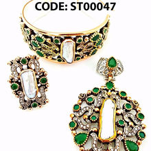 Turkish Wholesale Handcrafted 925 Sterling Silver Authentic Emerald and Pearl Set