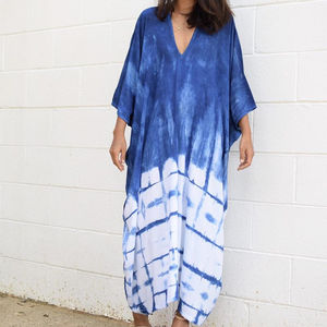 Luxury Beach Indian Handmade Tie Dye Long Maxi Dress Women Casual One Size Batik Printed Cover Up Evening Beach Party Maxi Dress