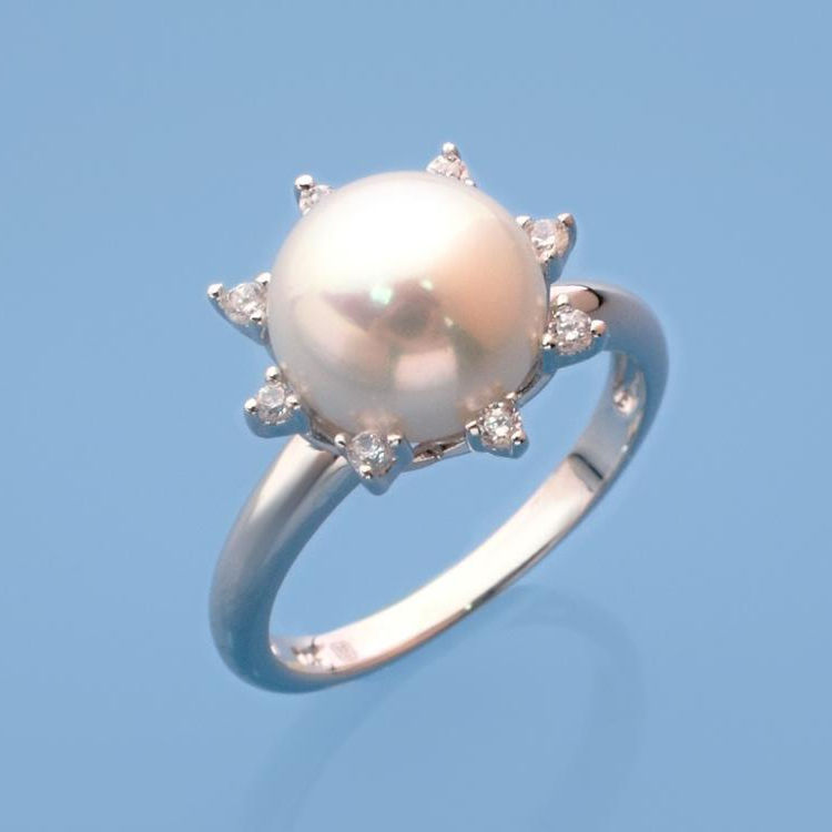 Cubic Zirconia [ Pearl Ring ] Pearlrings Silver Plated Ring Latest Design Sterling Silver 9.5-10mm Button White Natural Freshwater Pearl Ring With Cubic Zirconia Rhodium Plated