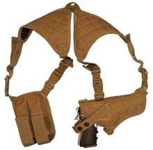 Shoulder tactical gun holster with magazine pouch