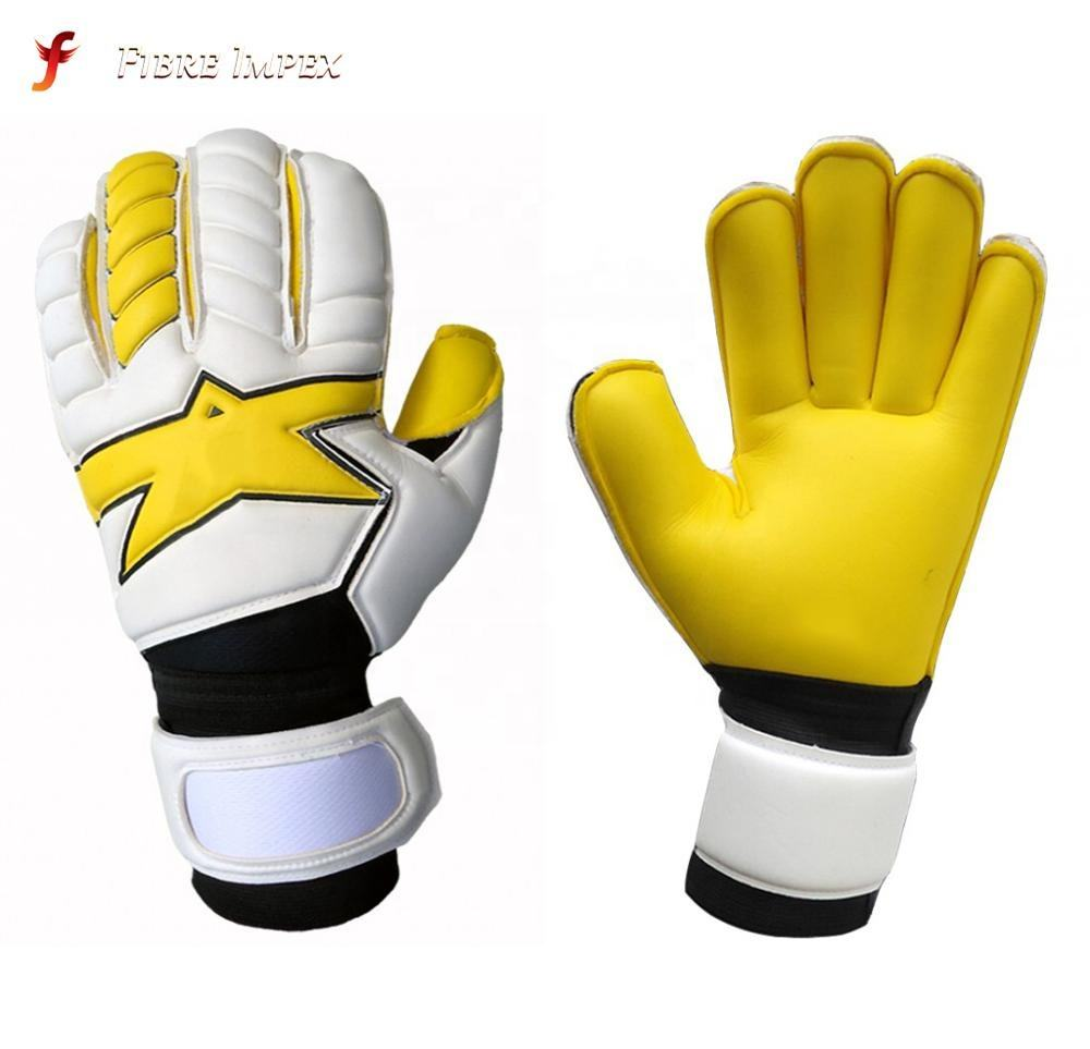 Bright color wholesale price goalkeeper football gloves in football playing roll finger cut German latex custom logo design