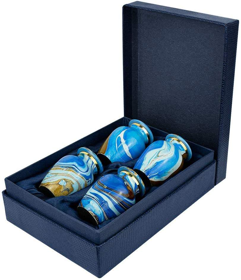 Ocean Tides cremation urns for human ashes, Blue Keepsakes
