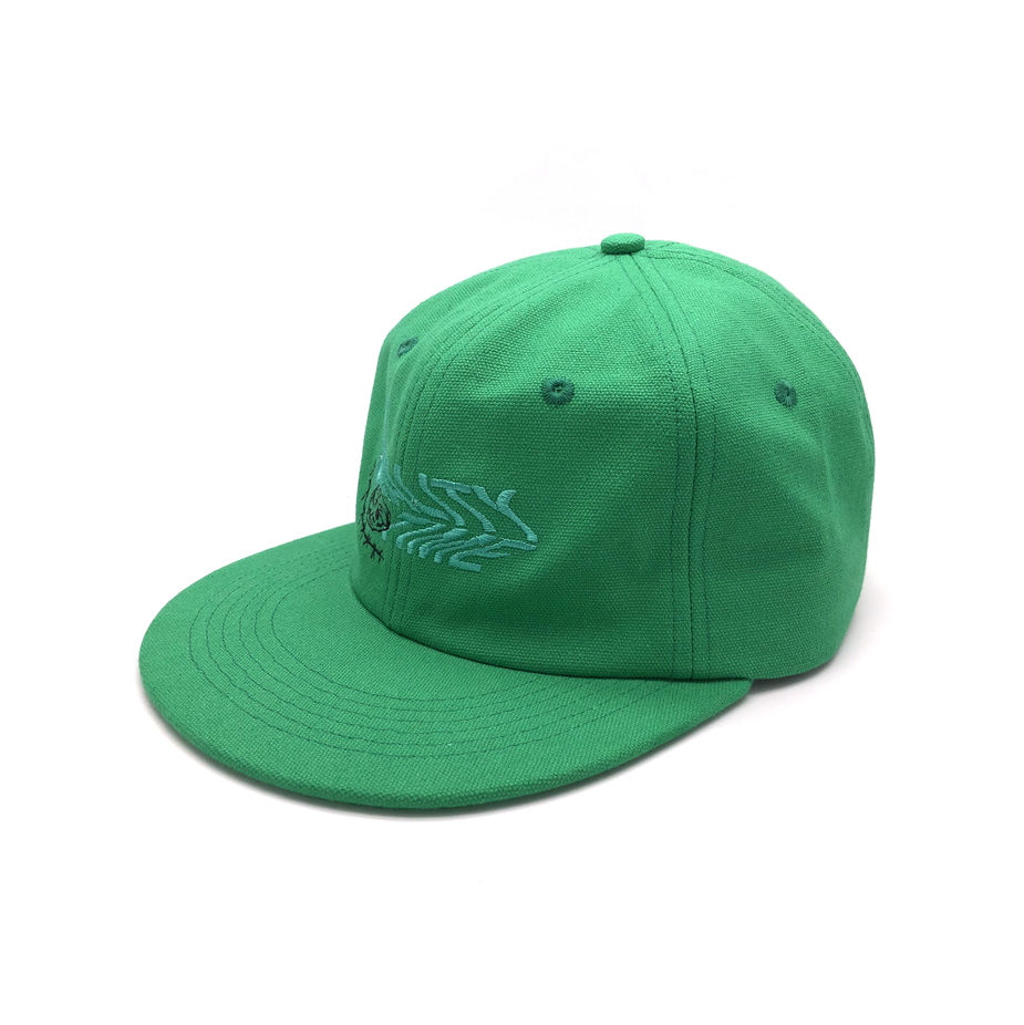 Kustom Bordir Green Flat Bill Kanvas Ayah Topi