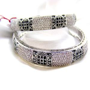 Women Victorian Art Sleek Silver Polished Studded with Cubic Zircon Stone Black Enamel Work Fashion Bangles