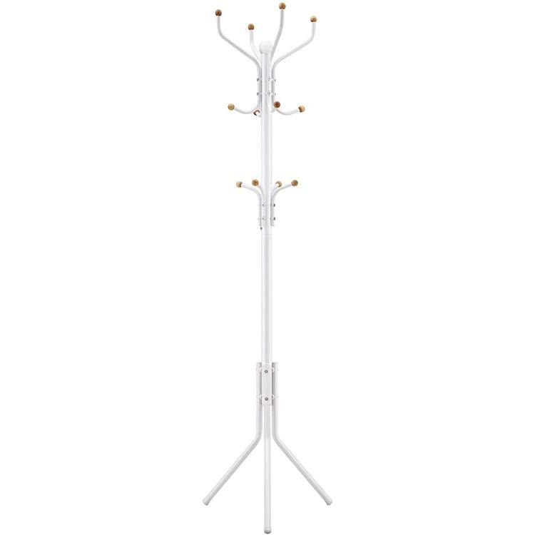 SONGMICS 182 Cm Tall Freestand Hall Tree Metal White Hat Handbag Hanger Coat Rack Clothes Stand
