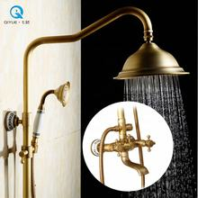 European design copper quality antique brass finished bathtub shower set with porcelain decoration