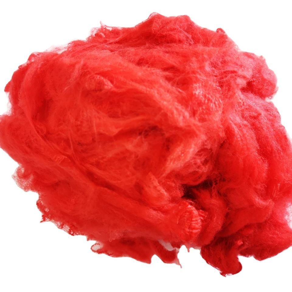 Good price red color soild recycled polyester fiber