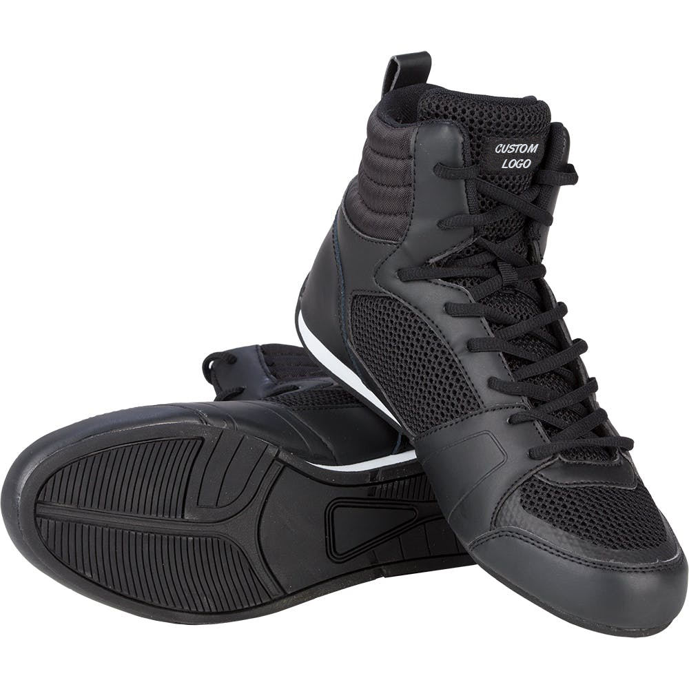 High Quality PU With Mesh Wrestling Shoes Squat Combat Fight Fitness Gym Training Black Boots Boxing Shoes