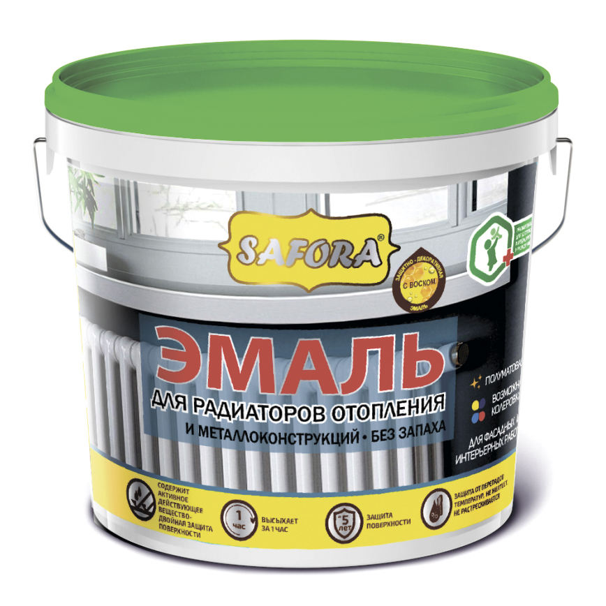 White paint enamel coating for heating radiators and metal (steel) constructions, acrylic base, quick drying, odorless