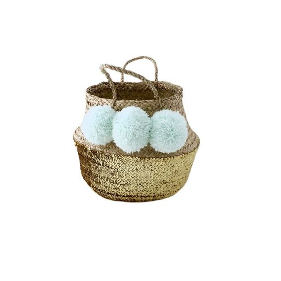 Natural Seagrass Woven Foldable Belly Basket with Handle for Storage, Flower Plant Pot, Laundry from Viet Nam