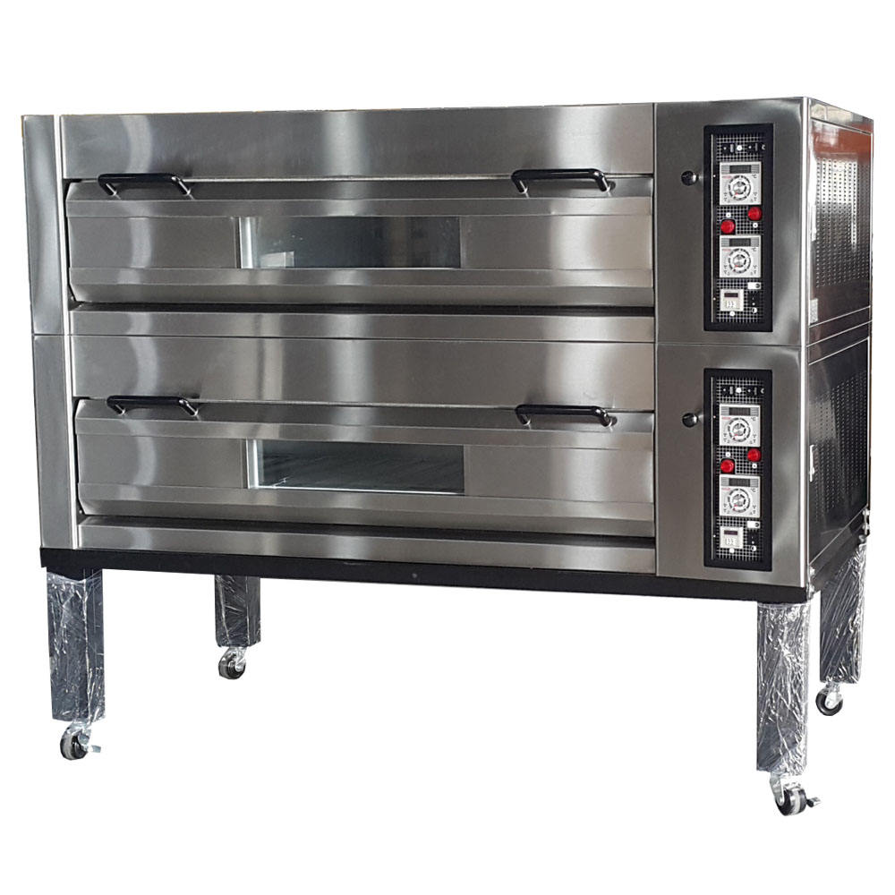 Bakery Bread Making Machines Automatic Double Deck Baking Oven 2 Deck 2 Trays Pizza Oven With Stone High Temperature Pizza Ovens