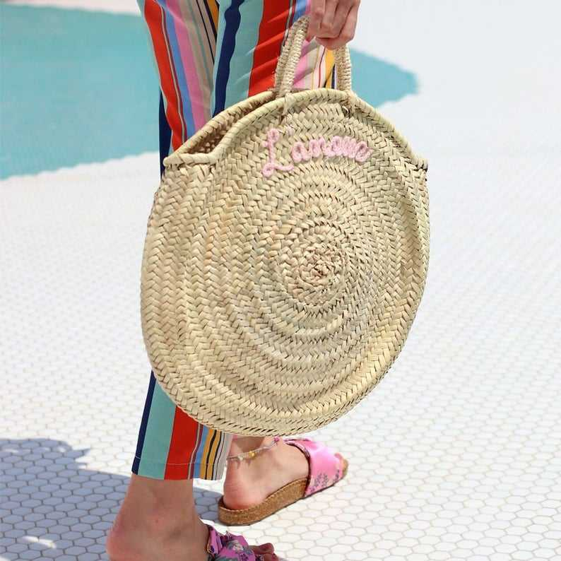 Personalized Round straw bags