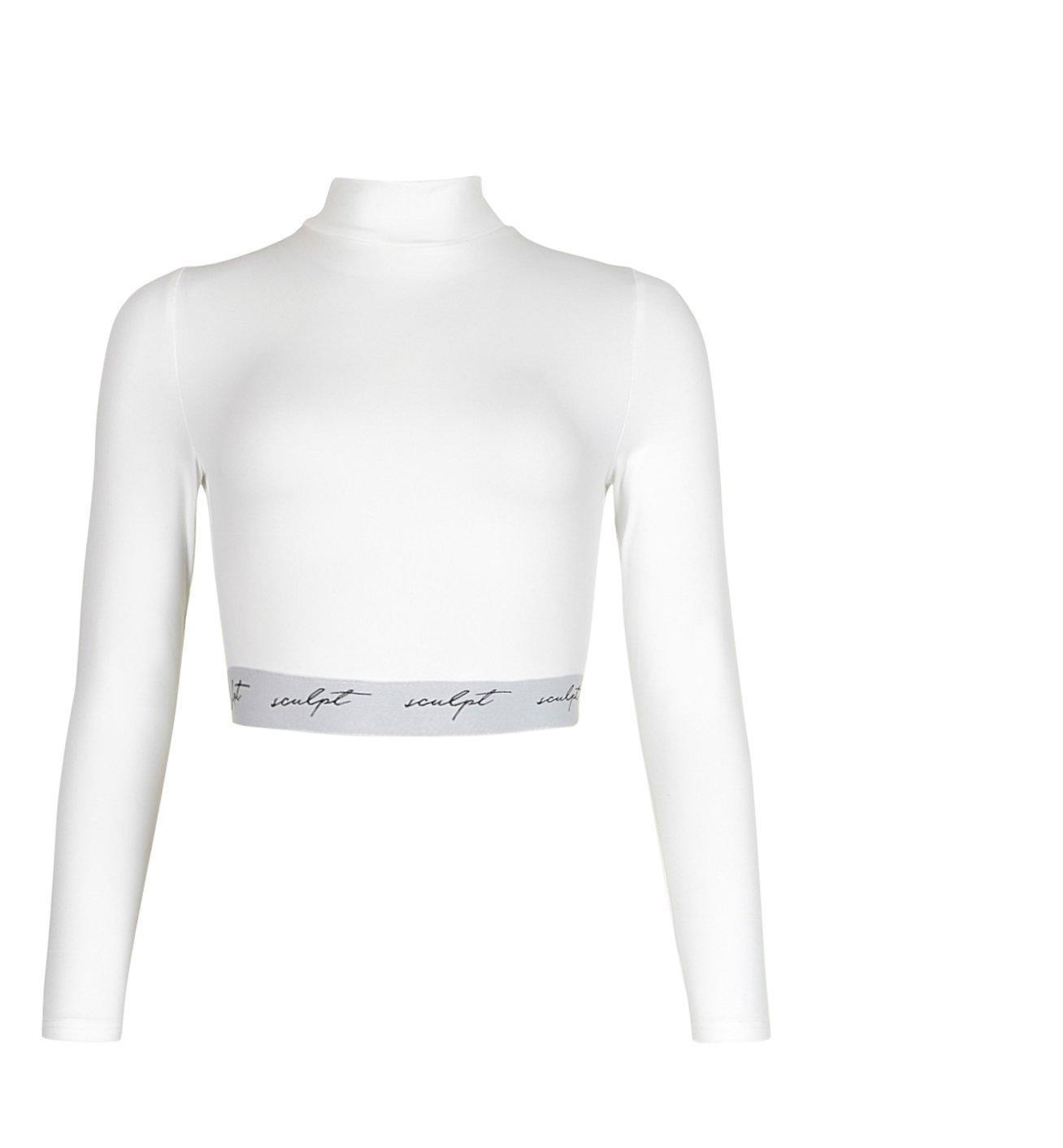 Sculpt Elastic Tape Cross Back White Crop Top