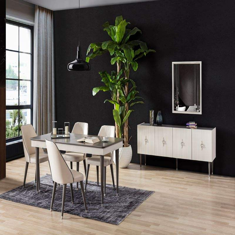 Modern Dining Room Set, Large Console, Luxury Table, Chairs , White Color, High Quality, Best Price