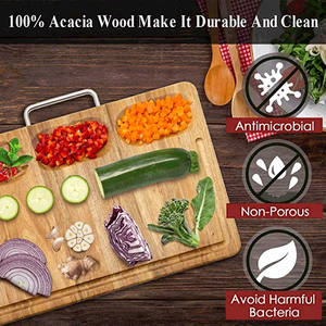 Natural Acacia Wood Chopping Cutting Board Set With Stainless Steel Handle For Kitchen