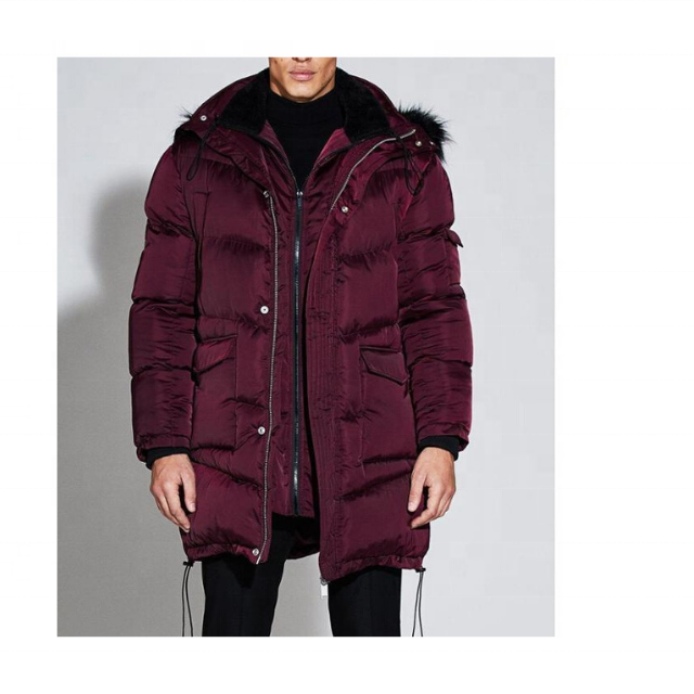 Low Price Custom Men Winter Premium Quality Satin Puffer Long Jacket with Fur Hooded