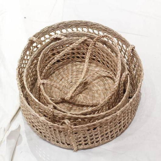 Seagrass Hanging fruit 3-tiers basket, Natural weave basket, Storage woven weaving basket in kitchen