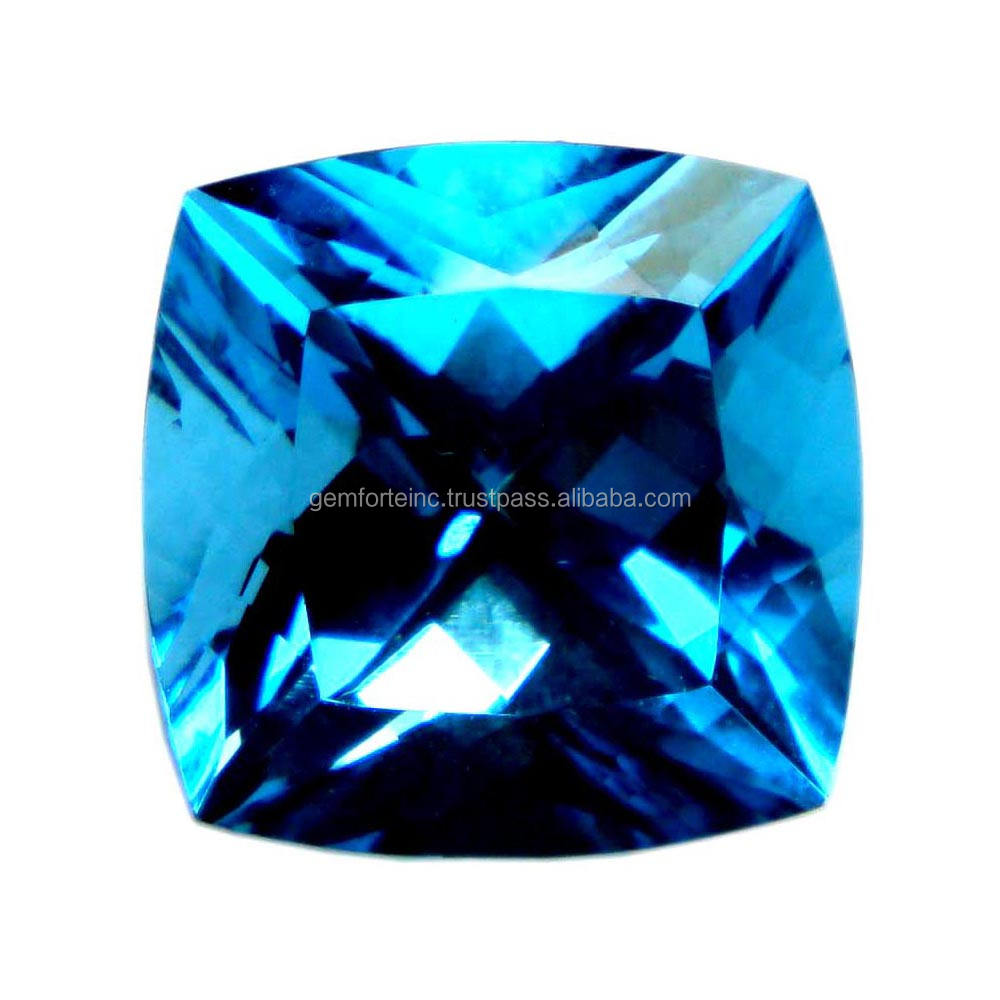 Natural Swiss Blue Topaz Faceted Cushion Gemstone For Earrings Jewelry
