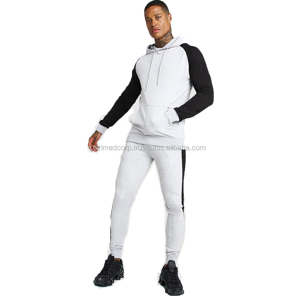 Grey Men Muscle Fit Contrast Sleeve Tracksuits/New Style Mens Sportswear Custom Logo Casual Zipper Pocket Jogger Tracksuit