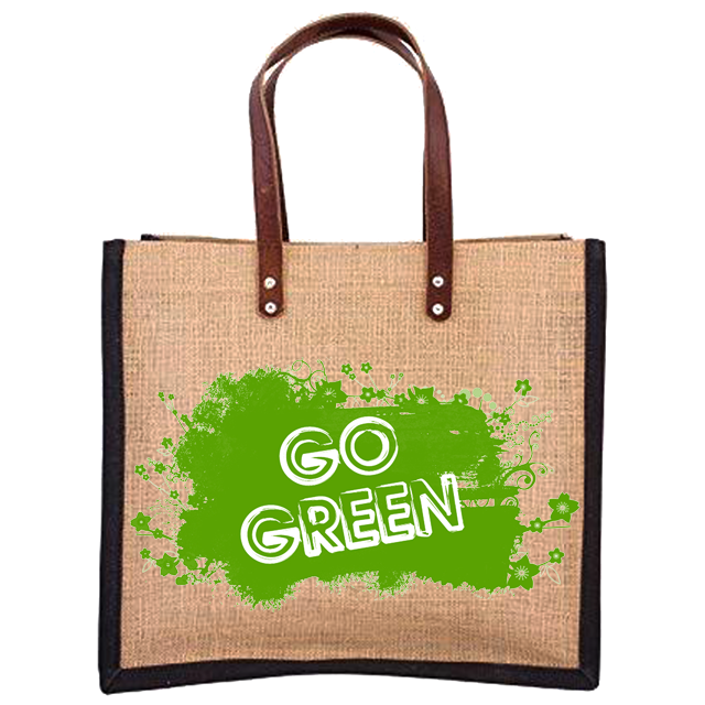 In Shopping Bags Tote Fashion printing jute bags with Leather handle our certification ISO9001-2015 ISO14001-2015 SA8000-2014