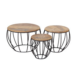 Modern Rustic Industrial Metal Wood Nest of table Set of Three, Beautiful Nesting table for living and decor home tables