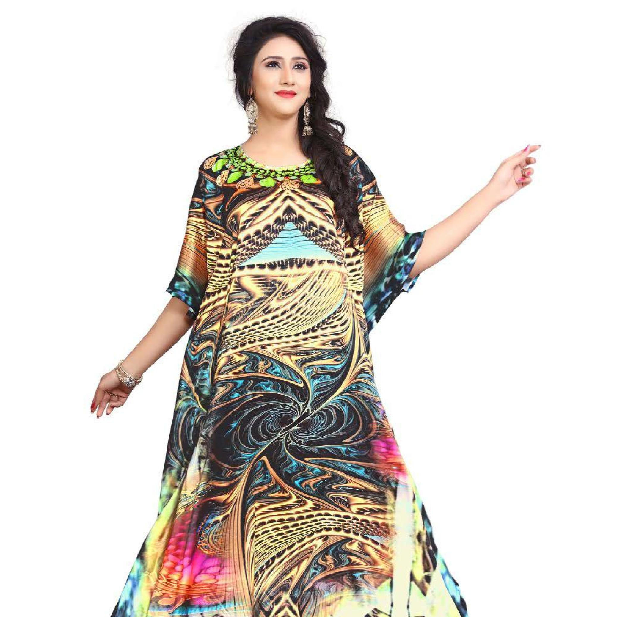 Latest Design Women Maxi Dress silk Kaftan