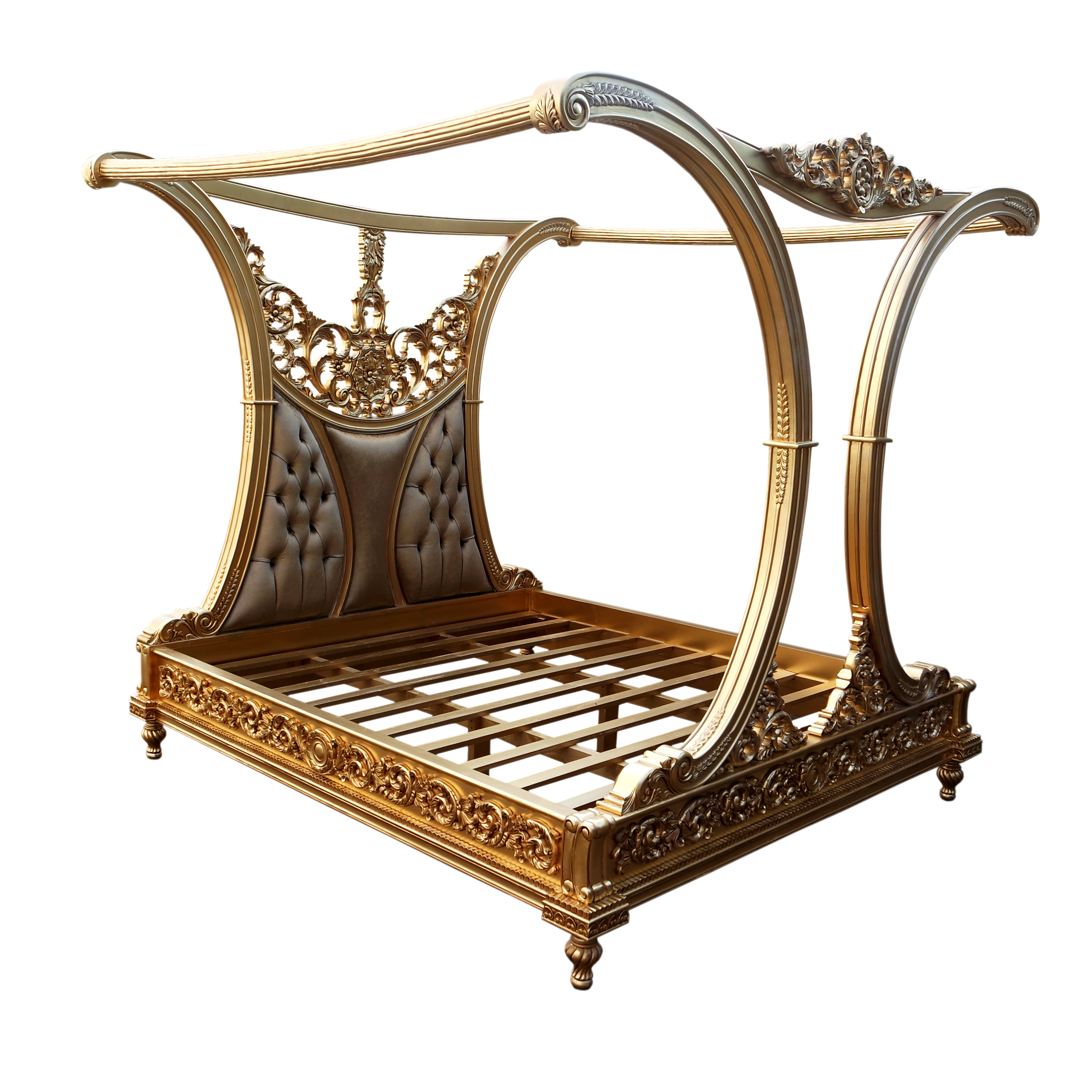 Wooden Furniture Royal Carved Canopy Bed