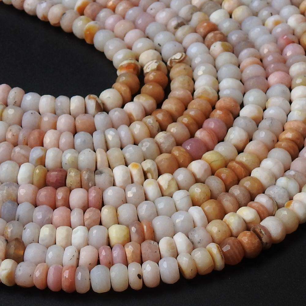 12 Inches Strand Natural Pink Peruvian Opal Multi Shaded Faceted Roundel Beads Wholesale Price New Arrival