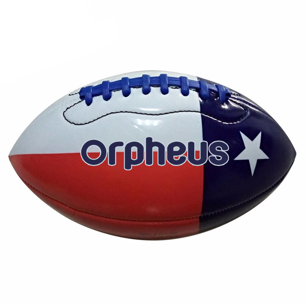 Sorts equipment custom printed logo rugby ball machine stitched pu/pvc american football match ball