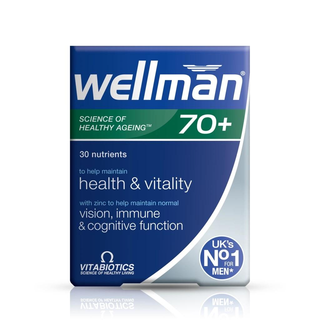 Vitabiotics Wellman 70+ - 30 Tablets 5021265244430 The UK No.1 mens supplement brand Vitabiotics Wellman 70 plus