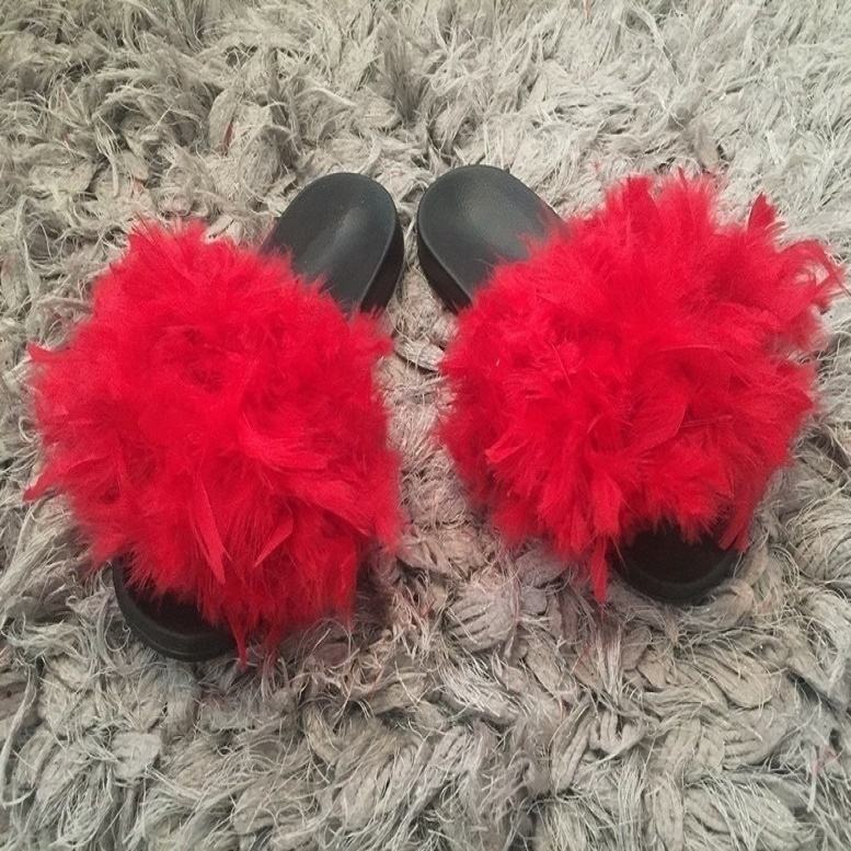slides - Professional new creative natural style durable custom slides furry footwear red slippers
