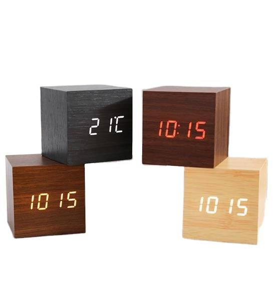 Amazon Small 6Cm Wooden Time Date Display Digital Cubic Alarm Clock Wood LED Light Mini Modern Desk Clock Cube Alarm Clock