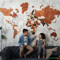 3D World Wood Map Wall Art interior Decor Wooden Map Rustic