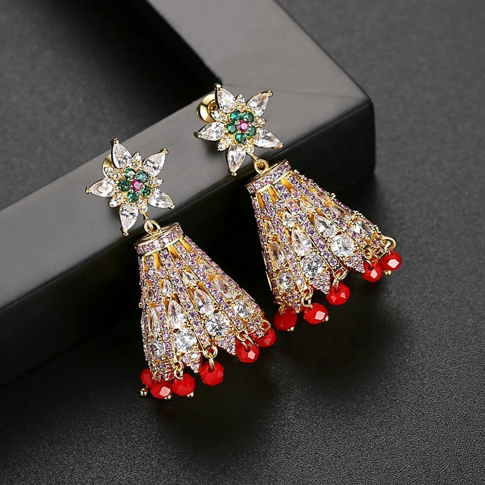 Red Tassel Indian Style Big Drop Earrings Bridal Wedding Inlaid AAA CZ Flower Shape Bling Fashion Jewelry Christmas Gift Women