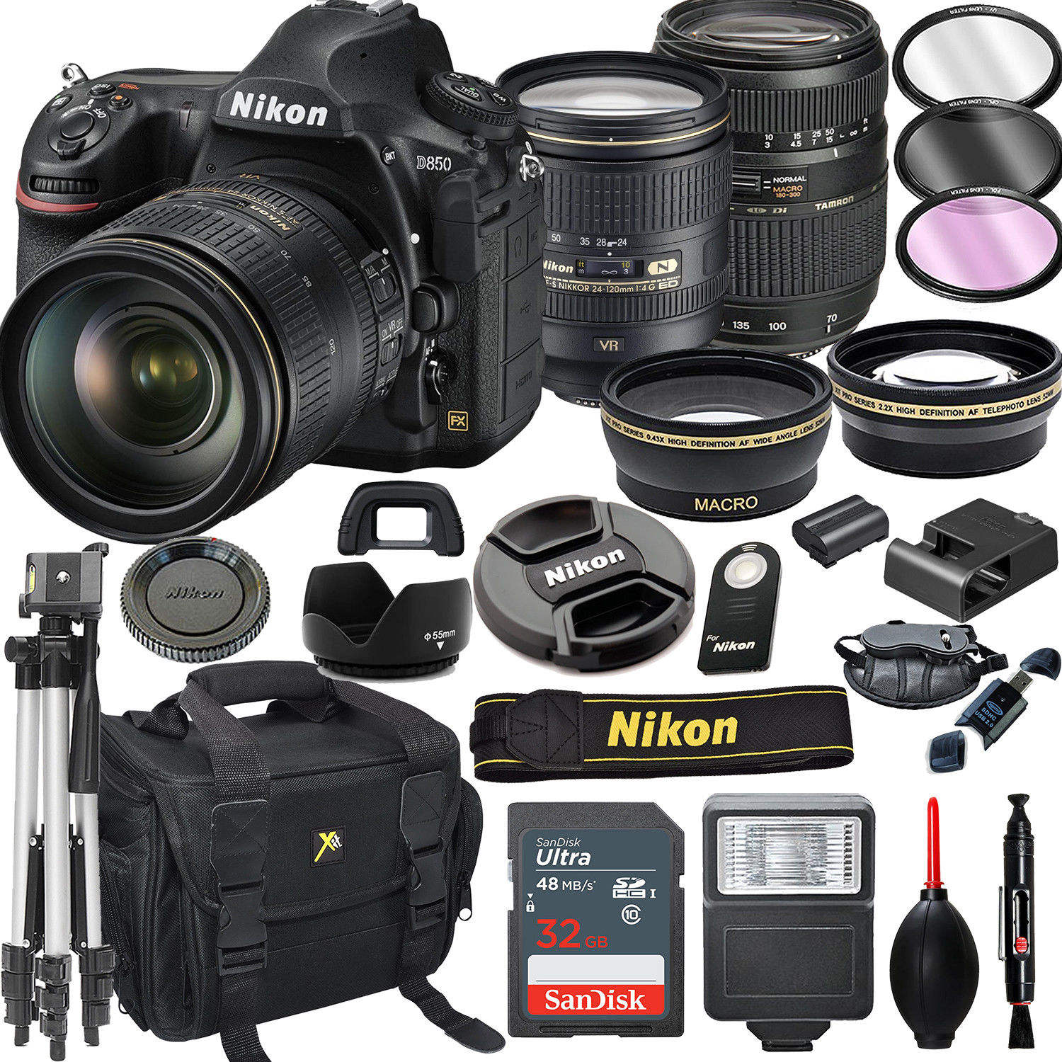 100% ORIGINAL Nikon D850 FX DSLR Camera with 24-120mm f/4G AF-S ED VR Lens+ 64GB Pro Video Kit