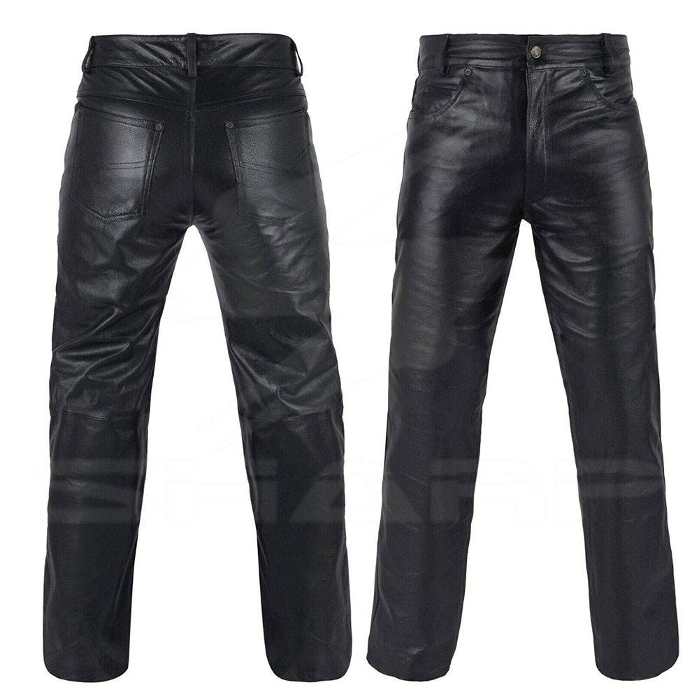 High Quality Genuine Leather Men's Pant Sheep Skin Black Color Leather Pants With Best Price