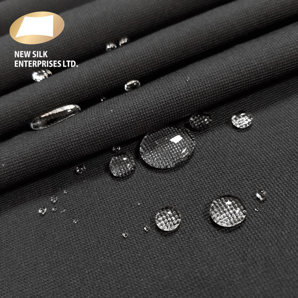 Water repellent polyester 4 way stretch double weave woven fabric for button up