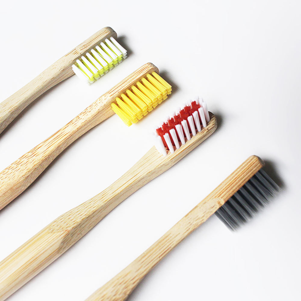 Real bamboo colors of bristle with charcoal toothbrush