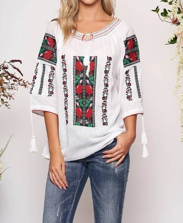 Gorgeous Romanian Style Cotton Embroidery Blouse For Women Hot Selling Traditional Top