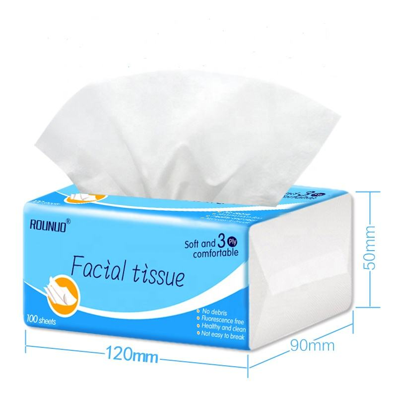 Rounuo Eco-friendly Facial Tissue, Virgin Wood Pulp, Soft Box