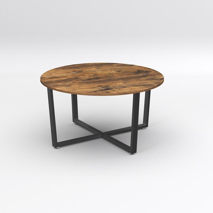 VASAGLE Living Room Metal Frame Easy to Assemble Industrial Style Durable Cocktail Table Rustic Brown Round Coffee Table