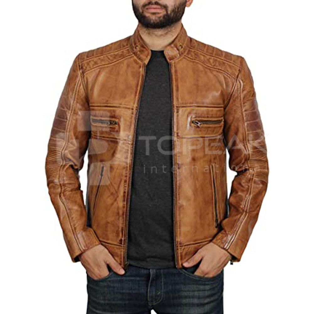 Pakistan Made Men Leather Jacket / Fashion Wear Men Leather Jacket