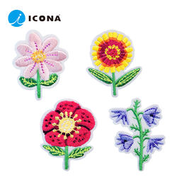 ICONA colorful flowers embroidered self adhesive patch sticker set (4pcs) iron on sew on available