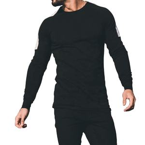 Wholesale 100% Cotton Plain Black Raglan Full Sleeve With Stripe O-Neck T-Shirt For Mens