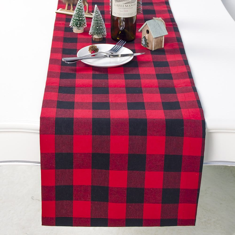 Classic Handmade Plaid Buffalo Check Table Runner for Wedding Banquet Catering Kitchen Table